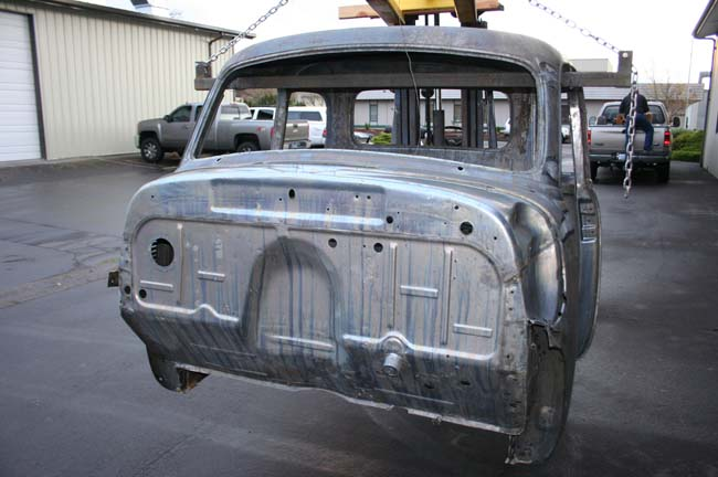 7000 54 Chevy pickup cab after acid dipping to strip paint and rust